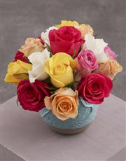 The Best Mixed Roses in a Turquoise Pot