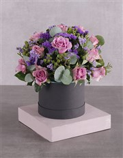 Hatbox of Lilac Roses