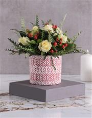 White Roses and Hypericum in Ceramic