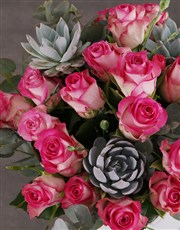 Pink Roses in a Love Vase