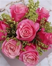 Cerise Roses In Silver Metallic Vase
