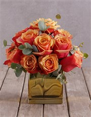 Cherry Brandy Roses In Gold Vase