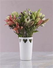 Asiflorum Lilies in Heart Pattern Vase