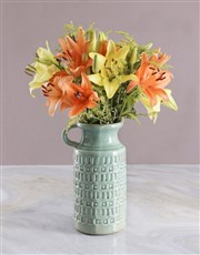 Bright Lilies in Ceramic Jug