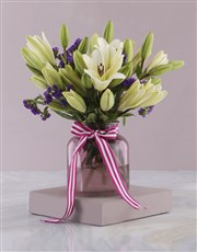 Pure White Lilies in Pink Vase
