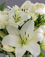 Personalised White Lily and Rose Arrangement