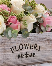 Rustic Blush Flowers In Wooden Crate