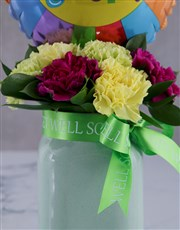 Feel Good Balloon And Arrangement In A Jar