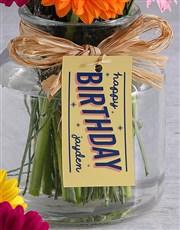 Personalised Happy Birthday Gerbera Arrangement