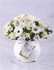 White Rose And Daisy Sympathy Pot