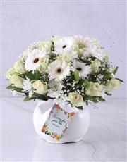 White Rose And Daisy Sympathy Pot
