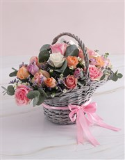 Radiant Roses Willow Basket