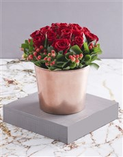 Red Roses in Copper Pot