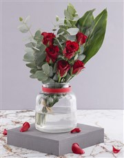 Red Rose and Greenery Arrangement