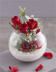 Red Roses in Glass Bowl
