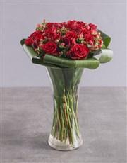 Red Rose Halo Arrangement