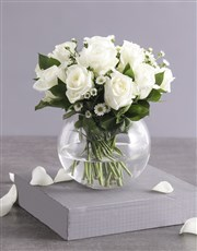 Celestial White Roses in Fish Bowl Vase