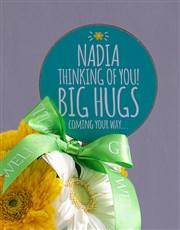 Personalised Big Hugs Gerberas