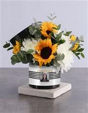 Personalised Congrats Sunflower Arrangement