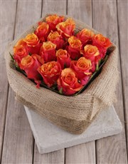 Cherry Brandy Roses in Rustic Box