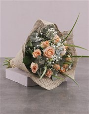 Rustic Peach Rose Bouquet