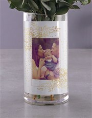 Personalised Sweet Cream Roses Photo Vase