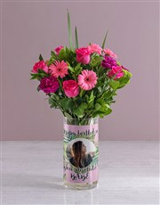 Personalised Happy Birthday Florals Photo Vase