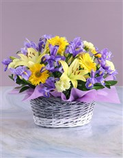 Basket of Blue and Yellow Blooms