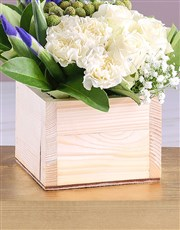 Blue and White Blooms in Wooden Box