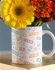 Colourful Thank You Floral Mug