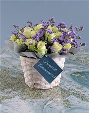 White Sympathy Roses In Basket