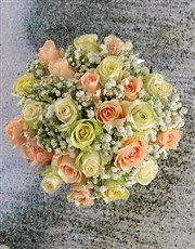 Mixed Sympathy Roses In White Ceramic Vase