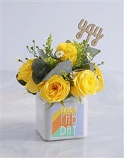 Blissful Yellow Roses in a Vase