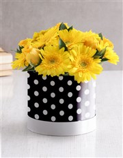 Mixed Yellow Flowers In Polka Dot Hat Box