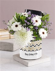 Lovely Mixed Flowers Hat Box