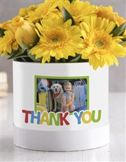 Personalised Thank You Mixed Flowers Hat Box