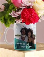 Personalised Dreams Come True Floral Mug