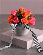 Cerise and Orange Rose Arrangement