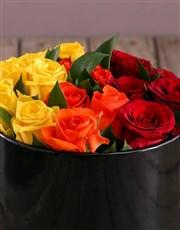 Sunrise Roses in Hat Box