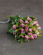 Lilac Roses In Brown Paper Sheet