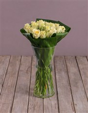 Cream Roses In Flair Vase
