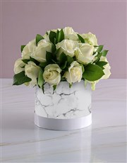 Snow White Roses In Hat Box Bunch