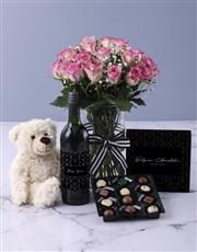 Pretty In Pink Rose Vase Arrangement