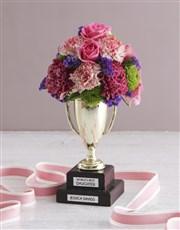 Personalised Best Daughter Trophy Arrangement