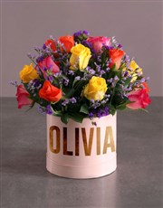 Personalised Mixed Flowers In Hat Box