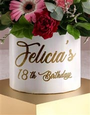 Personalised Birthday Mixed Flowers In Hat Box