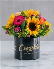 Congrats Mixed Flowers Hat Box