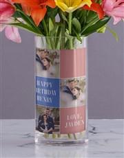 Mixed Lilies Birthday Photo Vase