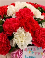 Red and White Birthday Carnation Surprise