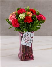 Blossoming Carnation Blooms In Vase Gift
